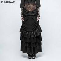 Панк рейв Женская юбка классического фасона стимпанк мода Готический Винтаж юбка для сцены Викторианский стиль вечерняя юбка