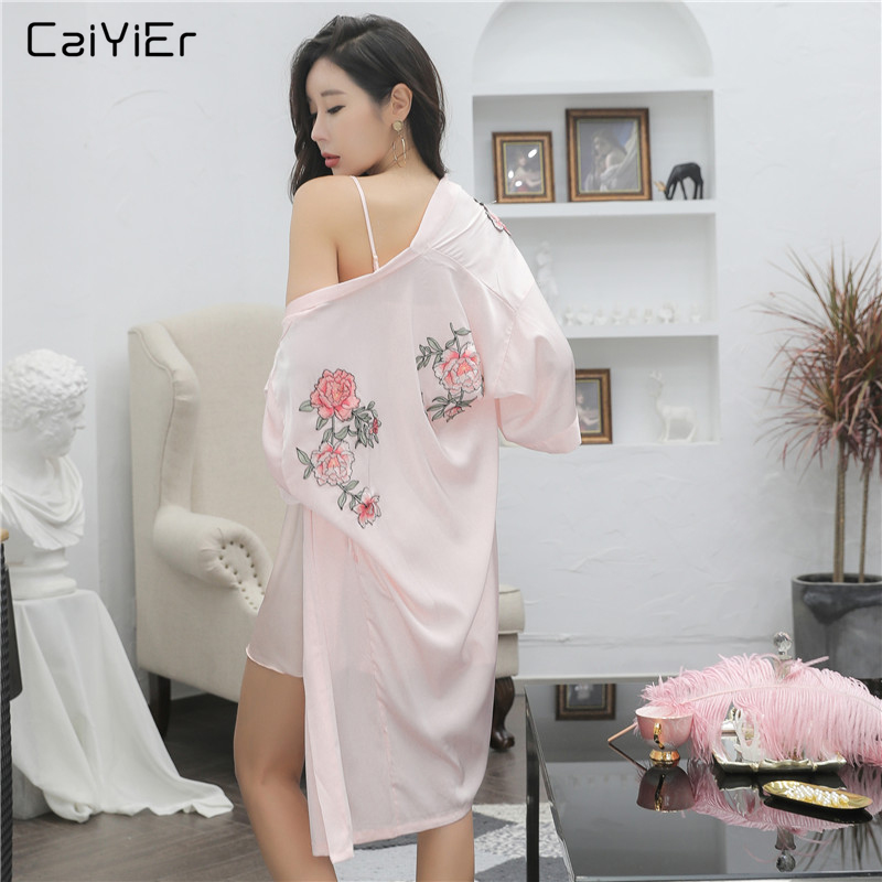 Caiyier Silk Robe Gown Set Pink Flowers Embroidery Bathrobe & Mini Night Dress Sexy Bridesmaid Wedding Robe Suit New 2019 LP6002
