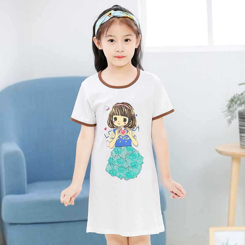 462939a547d2c Totoro Cotton Nightdress Little Teen Girls Pajamas Dresses Children Cartoon  Summer Nightgown Home Clothes Kids Sleepwear Gecelik-in Nightgowns from  Mother ...