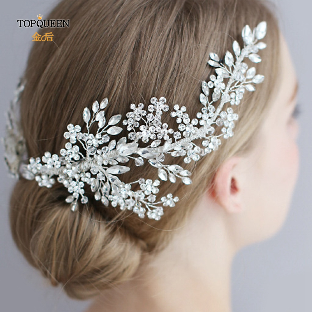 TOPQUEEN HP253 Luxury Crystal Wedding Hair Jewelry Bridal Accessories Wedding Hair Vine Clip Wedding Tiara Bridal Headband