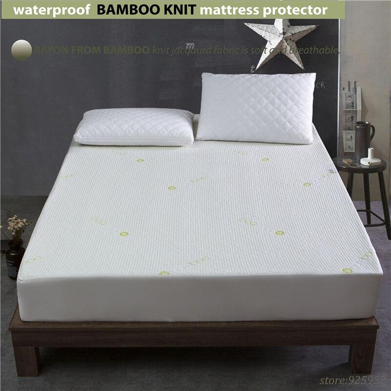 140x200cm 1.4m waterproof Beautiful Bamboo Jacquard mattress Protector jacquard cloth100% Waterproof W009 A