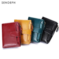 Sendefn New Famous Brand Short Leather Ladies Wallets And Purse Zipper Pocket Kashelek Preppy Style Small 3 Folding Women Walets
