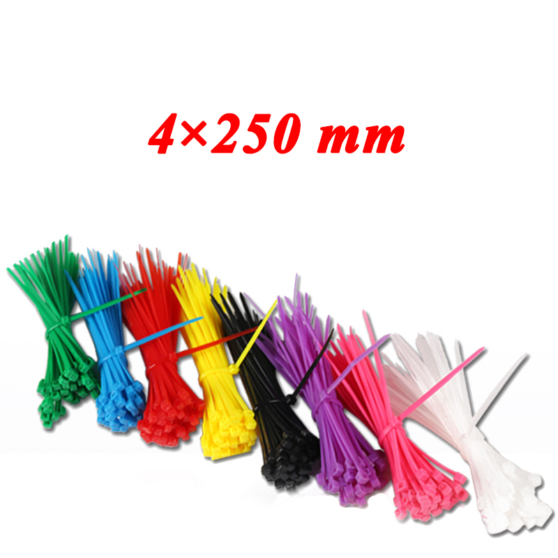 100pcs 4*250 mm Self-Locking Plastic Nylon Cable Ties Cable Zip Tie Loop Ties For Wires Tidy band ribbon Colorful Non-standard