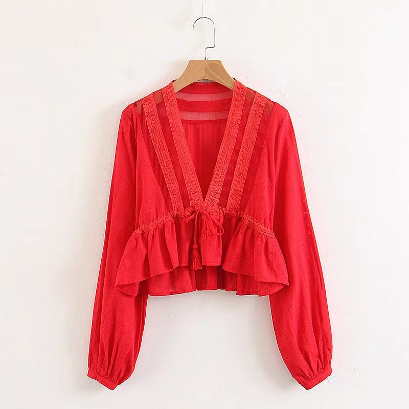 Sexy Deep V Neck Lace Bohemian Shirt Women Puff Sleeves Short Tops Solid Red Tassel lacing Long Sleeve Blouse Femme Blusas