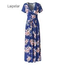Женское летнее платье с коротким рукавом v образным вырезом