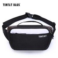 TINYAT Men Male Waist Bag Men Casual Fanny Pack Waterproof Nylon Belt Bag Large Capacity Bum