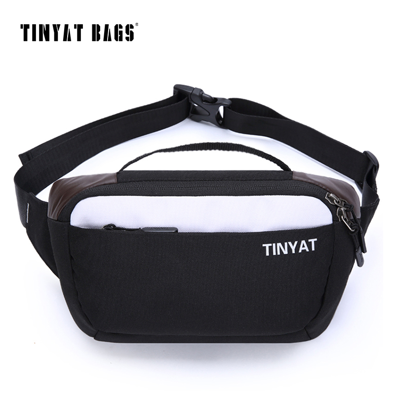 TINYAT Men shoulder Fanny Bag Waterproof Canvas Waist Bag Pack Money Phone Belt Bag pouch Casual Travel Bum Hip Bag T211 Black