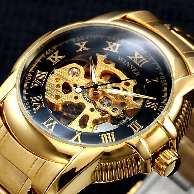 dbbcc756fc6 Vencedor Ouro Antigo Relógio de Esqueleto Mecânico Automático do relógio de  Pulso Masculino relógio de Pulso