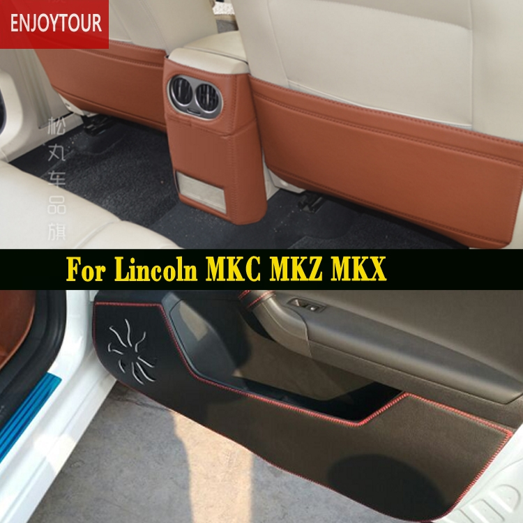 Car pads front rear door Seat Anti kick mat Accessories For Lincoln MKC MKZ MKX 2014 2015 2016 2017 2018
