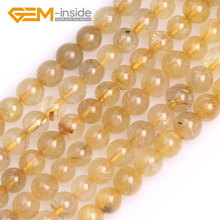 Round Smooth Gold Rutilated Quarts Beads Natural Stone Beads Loose Bead For Bracelet Making Strand 15 inches Wholesale !