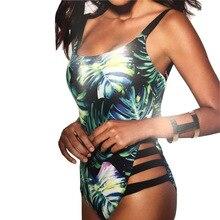 Women Swimwear One-pieces Bikini Foliage Printed Pattern Backless Swimsuits for Summer B2Cshop