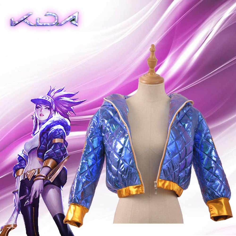 Модная Игра LOL KDA K/DA Group Akali Косплей Костюм крутая фиолетовая куртка с капюшоном сексуальный парик
