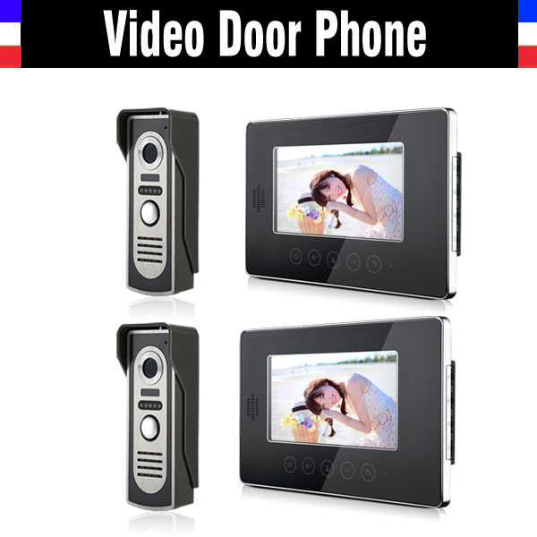 New 7 Inch Lcd Video Door Phone Doorbell Intercom System Video Doorphone interphone kit 2-Touch Monitor 2-IR night vision Camera home color video doorphone 7 inch lcd monitor 1 to 2 video door phone ir night vision camera video doorbell intercom system