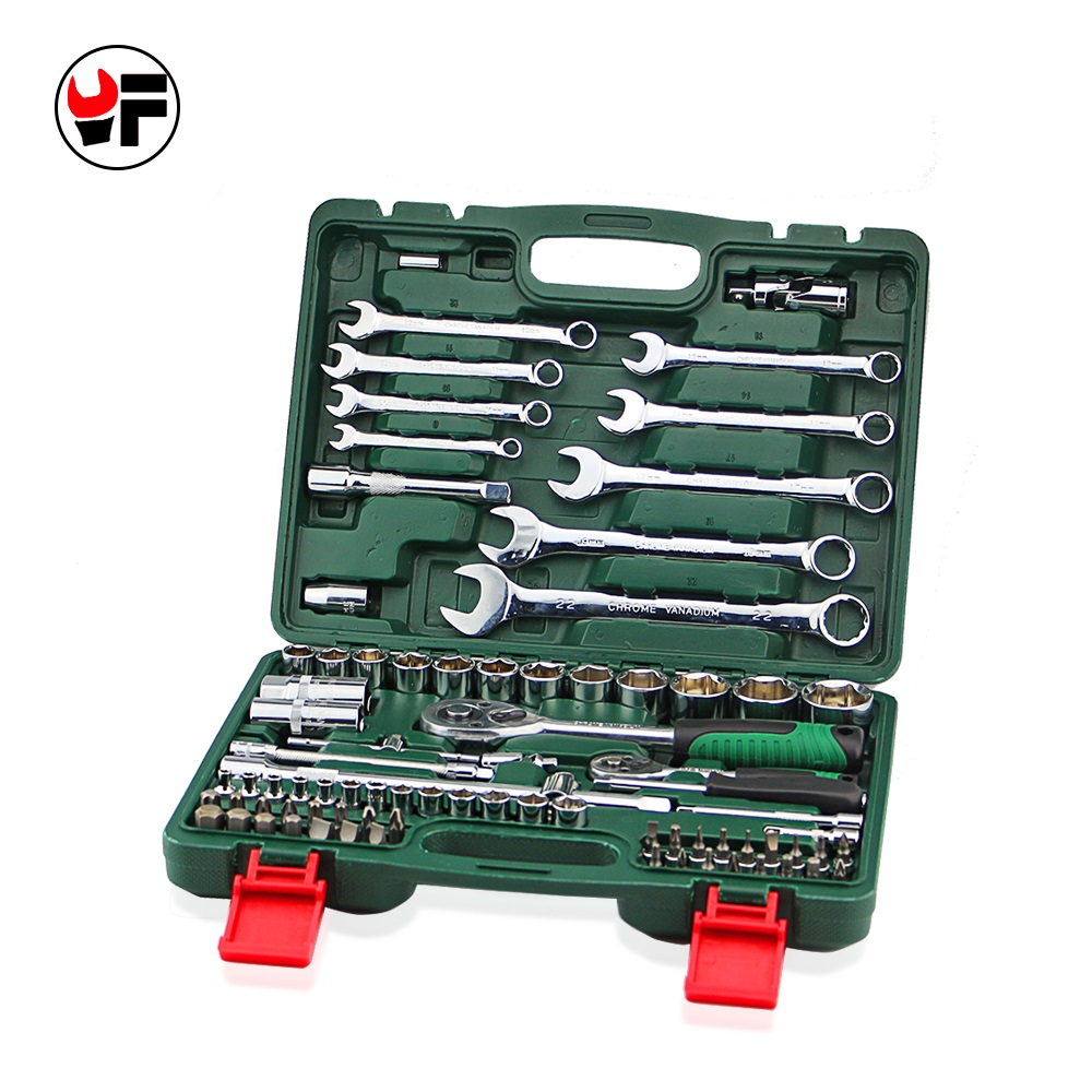Free Shipping 82pcs Tool Set Ratchet Wrench Tool Screwdriver Bit for Car Repair Tools Car Wrench 1/2 Socket Wrench A Set of Keys mainpoint 1 4 1 2 3 8 e socket sockets set cr v torx star bit combination drive socket nuts set for auto car repair hand tool