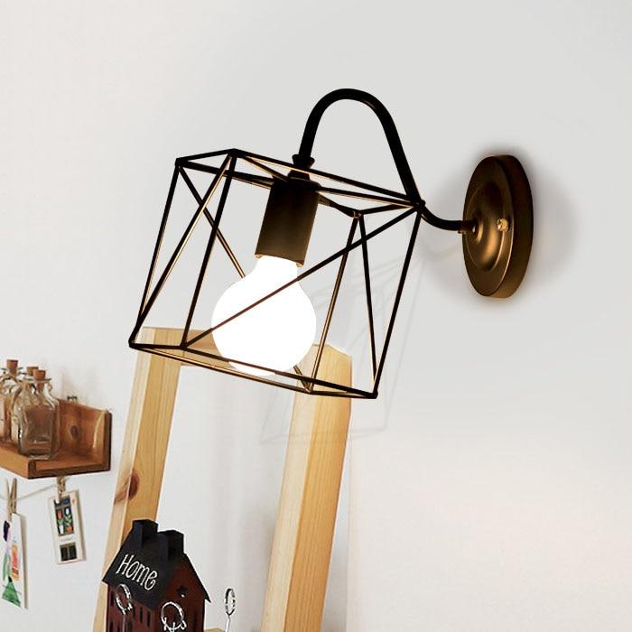 Simple Creative Iron Black Wall Lamp Bar Shop Wall Light Bedroom Asile Home Decor Wall Lamps AC220v 40W Lighting