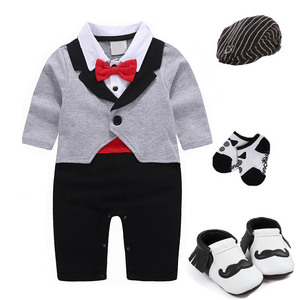 Image 3 - 1 set baby wedding birthday party Tuxedo twins cotton bodysuit outfits & set Christening suit photo props outfits