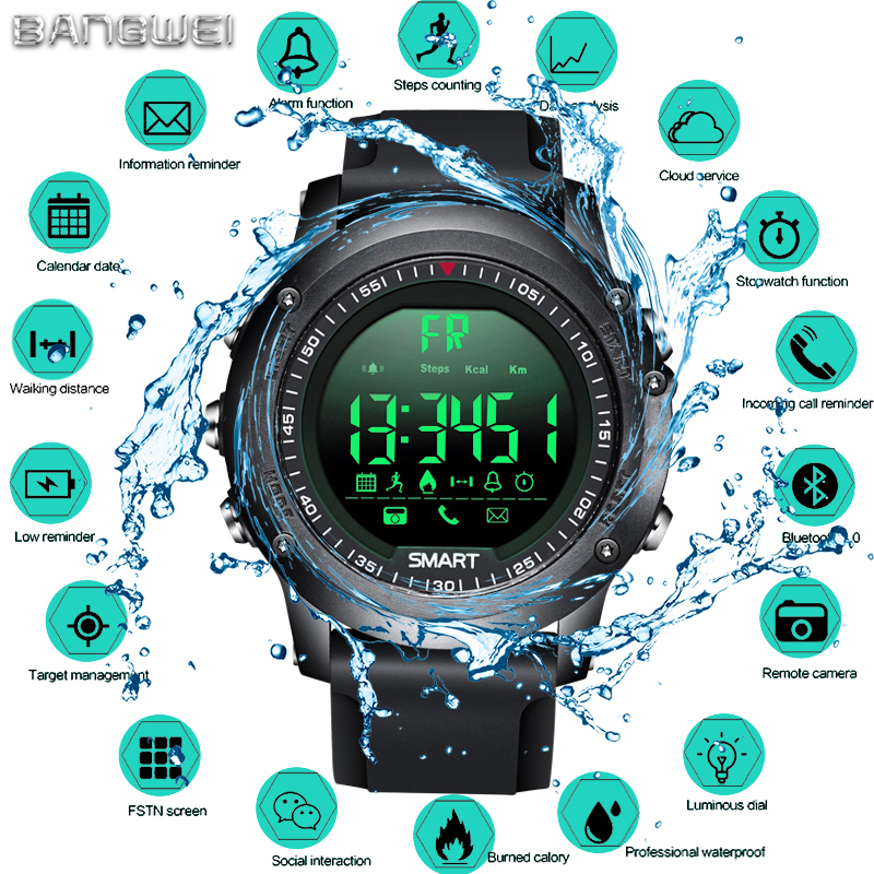 LIGE New sport Digital Watch Men Bluetooth Pedometer Stopwatch IP68 waterproof Smart Electronic Watch Smartwatch relogios +Box