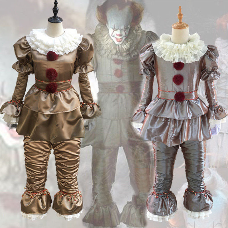 Adult Men Women Clown Costume Suit Fancy Halloween  Stephen King's It Pennywise Terror Mask Cosplay Costume Clown Party Costumes