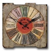 European Retro Clock Wall Clock Wood Clock Creative on the Wall Clock Industrial Wind Living Room 40x40cm