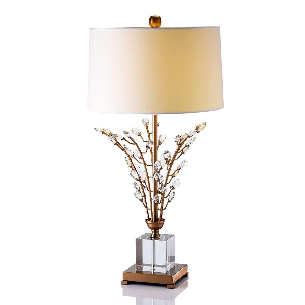 Lampe de Table de 75 cm de haut avec arbre en cristal/Base de Cube transparente