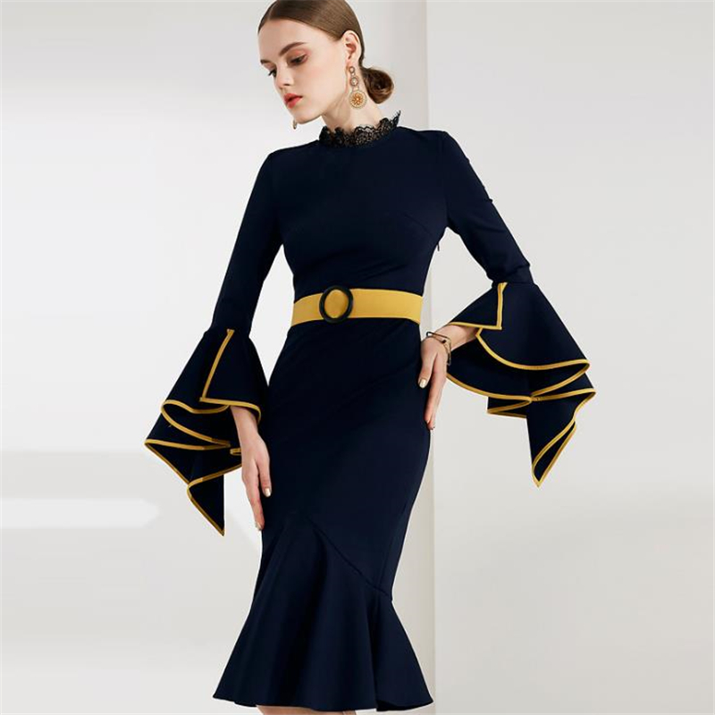 UNIQUEWHO Ladies Women Mermaid Dress Dark Blue Elegant Party Dress Slim Sexy Butterfly Sleeve Knee Length Dress 2018 Spring New