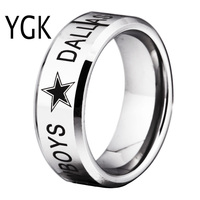 YGK Brand 8MM High Polished Silver Bevel Dallas Cowboys Design Tungsten Comfort Fit Ring For Man
