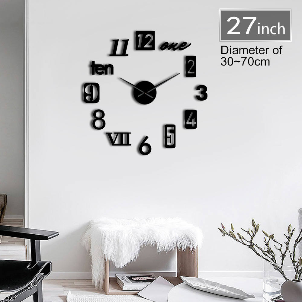 Different Types Of Numbers 3D DIY Mute Clock Watch Self Adhesive Fashion Home Kit Decoration Housewarming Gift Modern Wall Clock