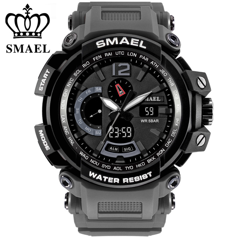 Military Watch Waterproof 50M Quality Brand Sport Watches Dual Digital Men Clock Military Army Chronograph Big Men Watch Sport in Sports Watches from Watches