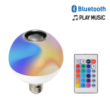 RGB Bluetooth Speaker Smart E27 LED Bulb Light AC110-265V Music Playing Dimmable Wireless Led Lamp with 24 Keys Remote Control цена 2017