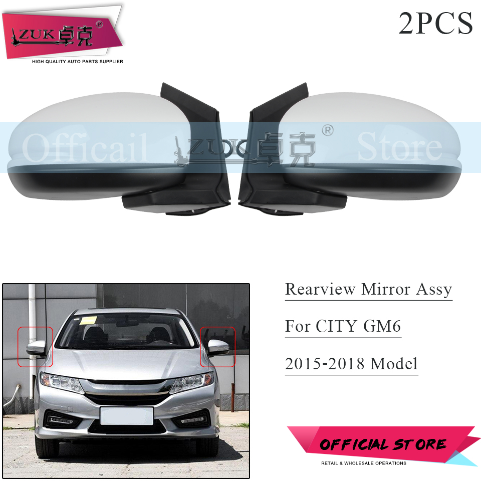 ZUK 2PCS Auto Outer Rearview Side Mirror Assy For HONDA CITY GM6 2015 2016 2017 2018