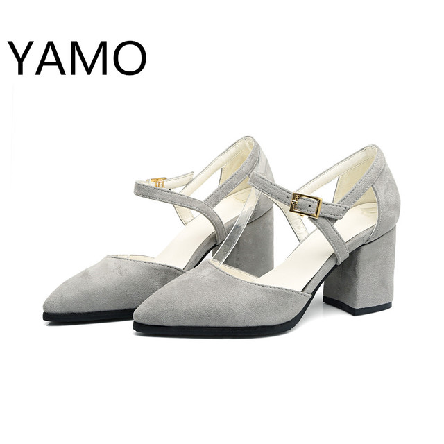 Large size 34-47 women high heel shoes pointed toe pumps women ankle strap heels black grey ladies pumps shoes yellow heels 2017