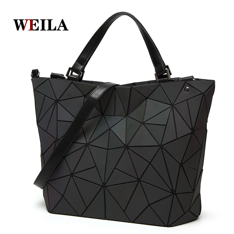 Shoulder-Bags QUILTED Tote Geometry Luminous-Bag Laser Hologram Folding Plain Diamond