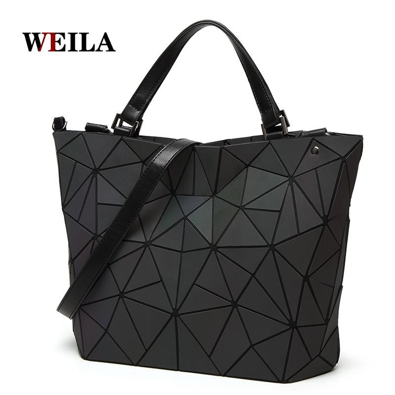 Luminosa saco Mulheres Geometria Diamante Dobráveis Simples Bolsas Tote Sacos de Ombro Acolchoadas Laser Holograma Frete Grátis