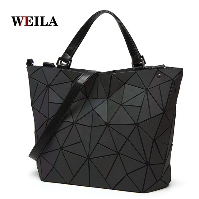 068e50a3a640 US $38.98 | Luminous bag Women Geometry Diamond Tote Quilted Shoulder Bags  Laser Plain Folding Handbags Hologram Free Shipping-in Top-Handle Bags from  ...