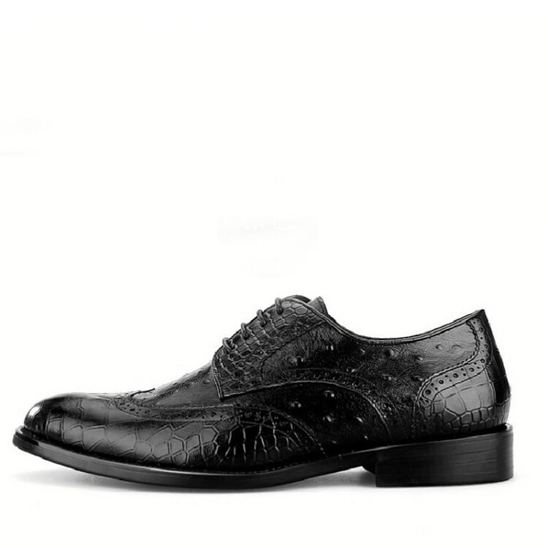 Alta Formal Brogue Negócios Sapatos Vestido Crocodilo De Homens Bico Fino Mycolen Couro Esculpida Homem Preto Qualidade qvfnXRxwz