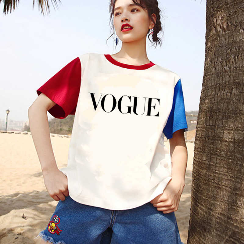 Topos de verão para as mulheres 2019 logotipo voga gráfico camisetas T Impresso roupas Da Moda para as mulheres novas mulheres da moda tshir