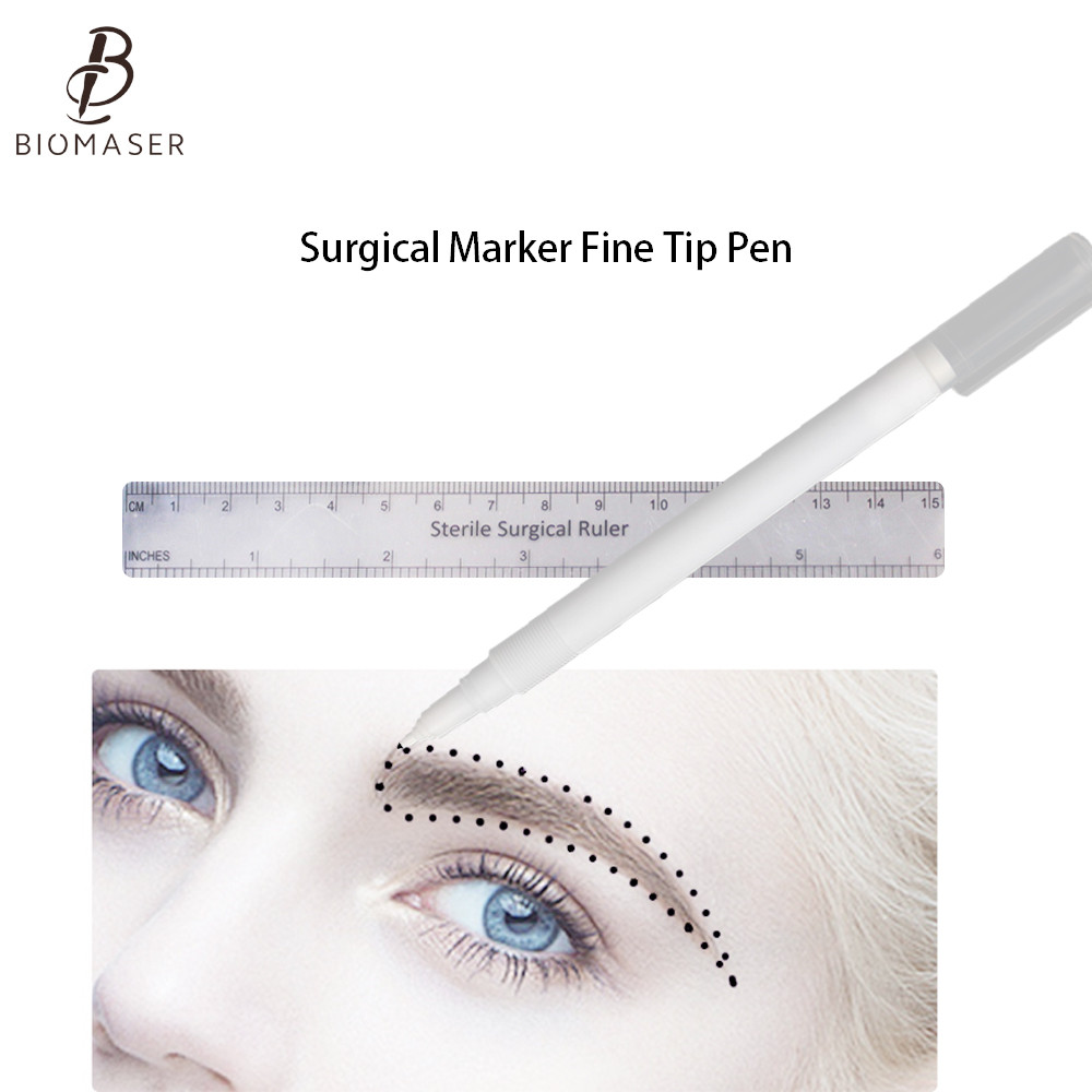 Biomaser 1set Surgical Skin Marker Eyebrow Marker Pen Tattoo Skin Marker Pen With Measuring Ruler Microblading Positioning Tool
