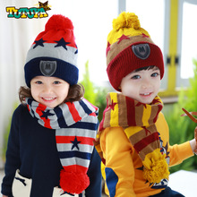 Kids knitted Scarf And Hat Set Luxury Thickening Winter Warm Crochet Hats And Scarves With Fur Pom Beanie Hat for Boys And Girls