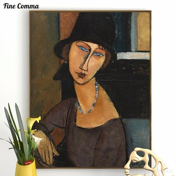 Jeanne Hebuterne au chapeau Amedeo Modigliani handmade Hand painted Oil Painting Reproduction Print Poster Canvas Wall Art Decor image