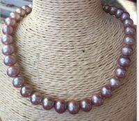 Элегантный 11 12 мм Круглый AAA пресноводный Лавандовый жемчуг ожерелье 18 дюймов 925 серебро