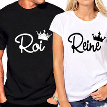 0299e18bf Summer Lovers Tshirt KING QUEEN Imperial Crown Couple T-shirt Women Men  Funny Letter Print T Shirts His and Hers Gifts For Loved