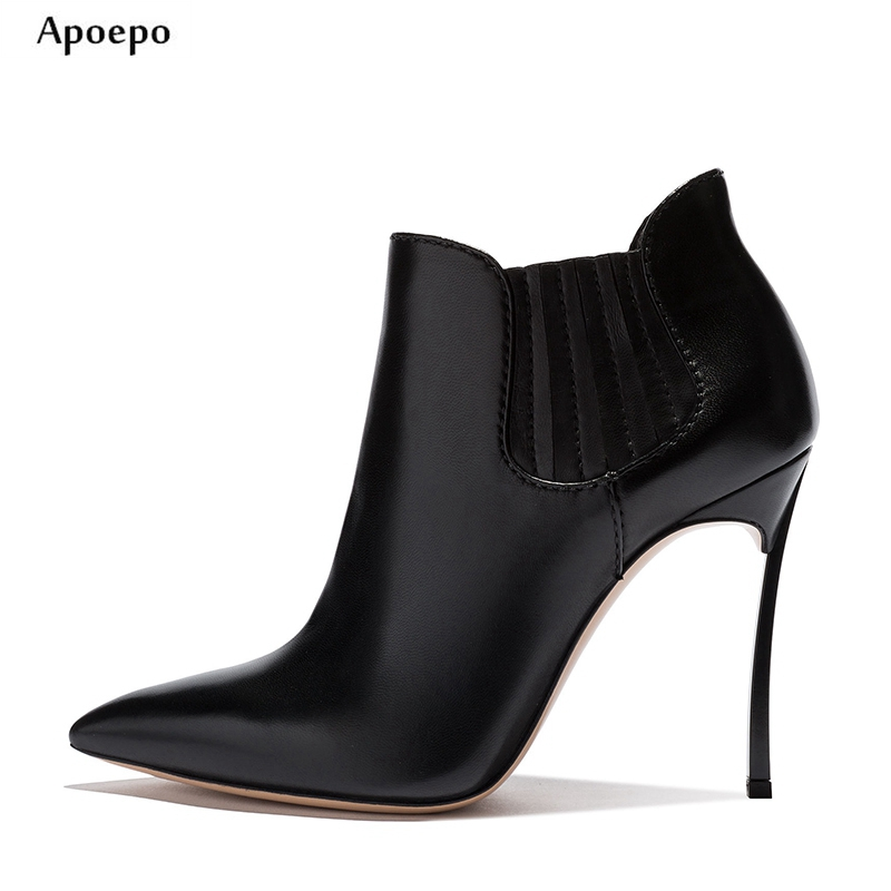 New Spring Newest Black Leather high Heel Boots 2018 Sexy pointed Toe ankle boots for woman Motorcycle Leather Boots цена