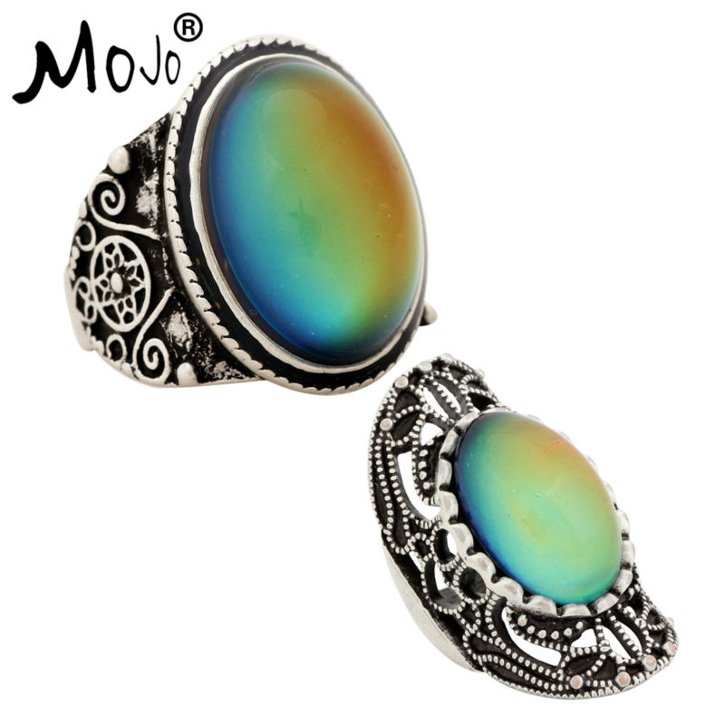 2PCS Antique Silver Plated Color Changing Mood Rings Changing Color Temperature Emotion Feeling Rings Set For Women/Men 004-034
