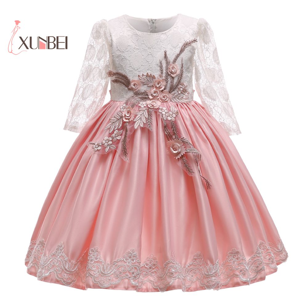 Cute Long Sleeves Pink Lace   Flower     Girl     Dresses   2018 Satin Knee Length Floral   Girls   Pageant   Dress   First Communion   Dresses