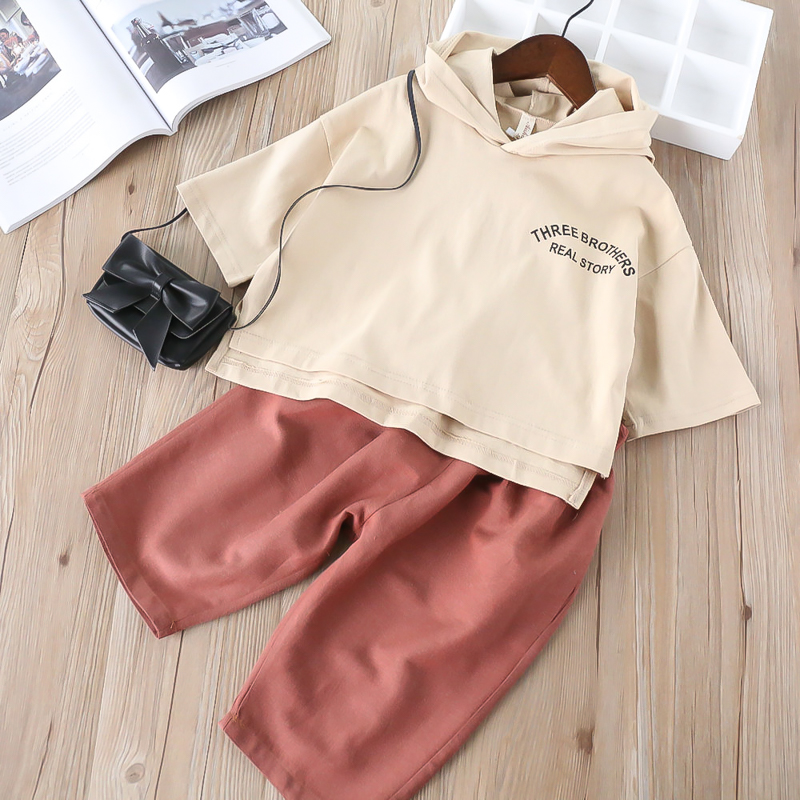 Hurave 2018 spring summer kids Baby Girl hooded Long Sleeve solid sweater T Shirt+Solid pants suits Clothes Children sports sets