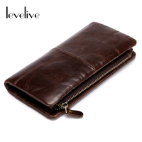 LEVELIVE Brand Multifunction Men Clutch Wallets With Phone Pocket Vintage Oil Wax Genuine Leather Mens Zipper