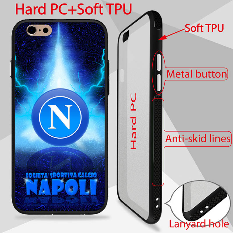 Calcio stemma napoli Patterned Case For iPhone 6 6S Cover high quality back PC TPU Side phone cases anti-skid lines design