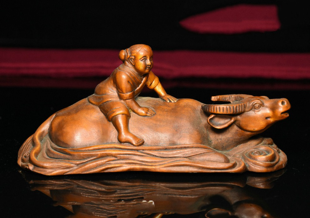 christmas Chinese Boxwood Wood Carved TongZi Girl Ride Bull Ox buffalo cross river Statue halloweenchristmas Chinese Boxwood Wood Carved TongZi Girl Ride Bull Ox buffalo cross river Statue halloween