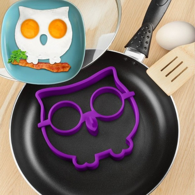 Kitchen Silicone Owl Egg Shaper Make Owl Shaped Fried Eggs Fun Cute Mold Ring D892