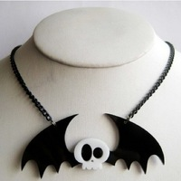 Cute Acrylic Skeleton Bat Necklace